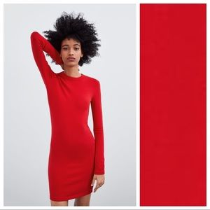 NWT. Zara Red Shift Dress. Size S-M.
